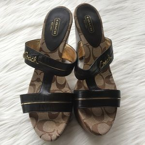 Coach Jonah Brown Wood Heel Sandal Size 10